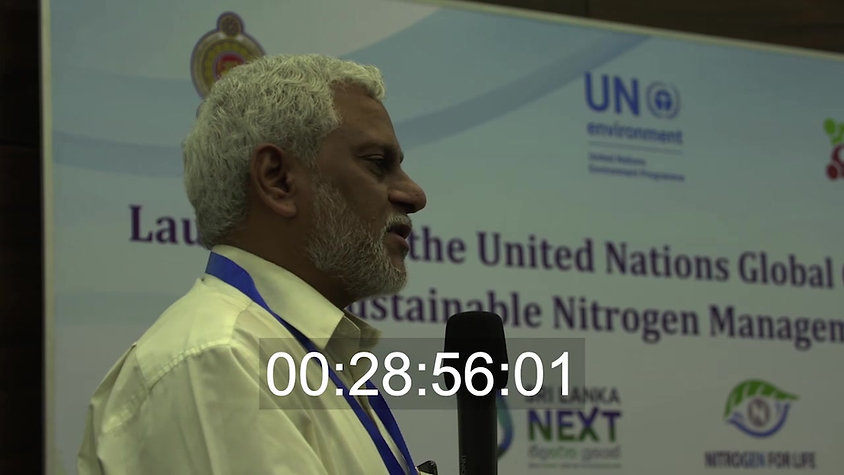Prof Raghuram giving a speech at Launch of United Nations Global Campaign on Sustainable Nitrogen Management, 23-24 October 2019, Colombo, Sri Lanka