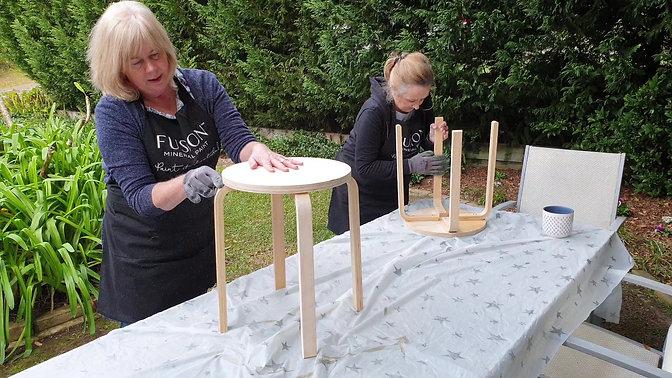 Furniture Painting Workshop Prep Work using Sandi Hands Gloves