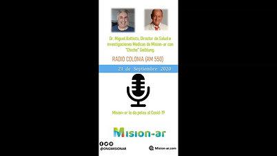 """Dr. Miguel Battista junto a """"Chiche"""" Gelblung en Radio Colonia."""