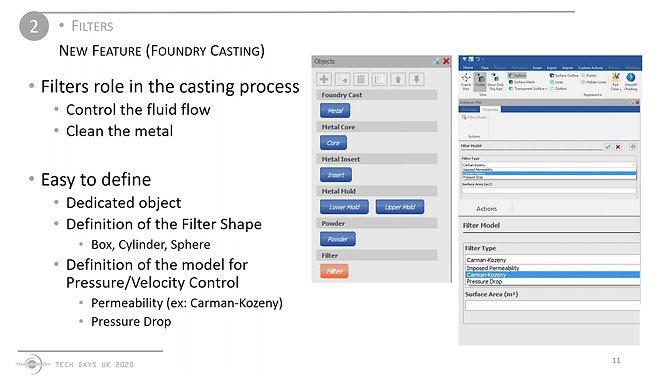 Metal flow Filters simulation