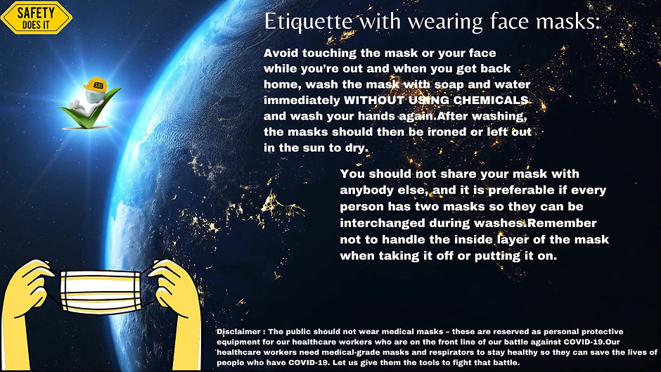 Etiquette with wearing face masks.