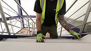 Gerflor vinyl Installation process on the metal staircase