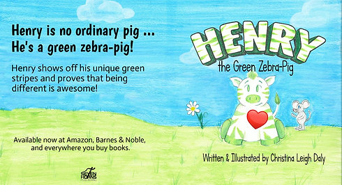 Henry the Green Zebra Pig Trailer