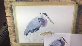Michele Clamp Watercolor Blue Heron