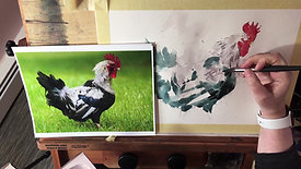 Michele Clamp Watercolor Rooster