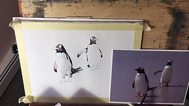 Michele Clamp Watercolor Two Penguins