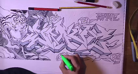 tiger seven lillies  sketch