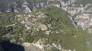 Greek mountain village. Aerial shot.