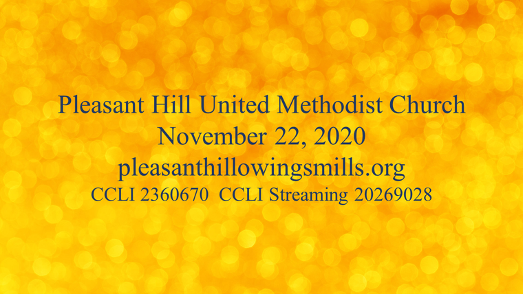 November 22, 2020 Sunday Worship