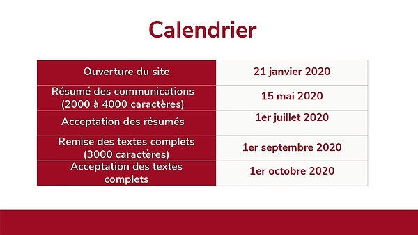 Call for Papers - Appel à communications du Colloque  SMCU2020