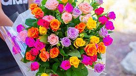 זר פרחים ורד הכפר - וורדים פרחי הארץ