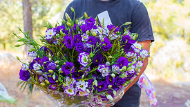 זר פרחים ים כחול ליזיאנטוס - פרחי הארץ
