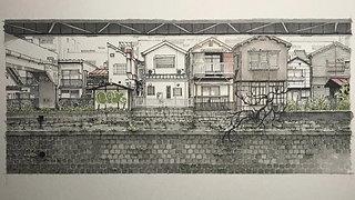 古川の護岸と黒ネコ メイキング