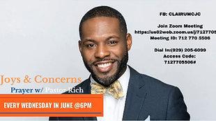 June 30, 2021 - Joys and Concern Wednesday Night Prayer