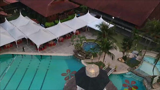 Aerial view of Kiara clubhouse and poolside