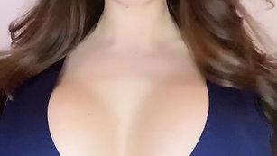 Blue navy dress & peachy lipstick