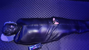 Preparing this slave for a 12h session in sleepsack with electro on