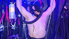 Suspended with bubbler and electro on ass and cock