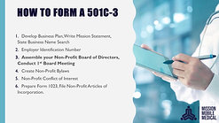 Part 2 - An Overview of Forming a 501c3