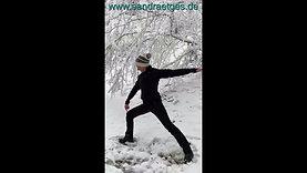 Yoga Häppchen Krieger im Schnee einfach