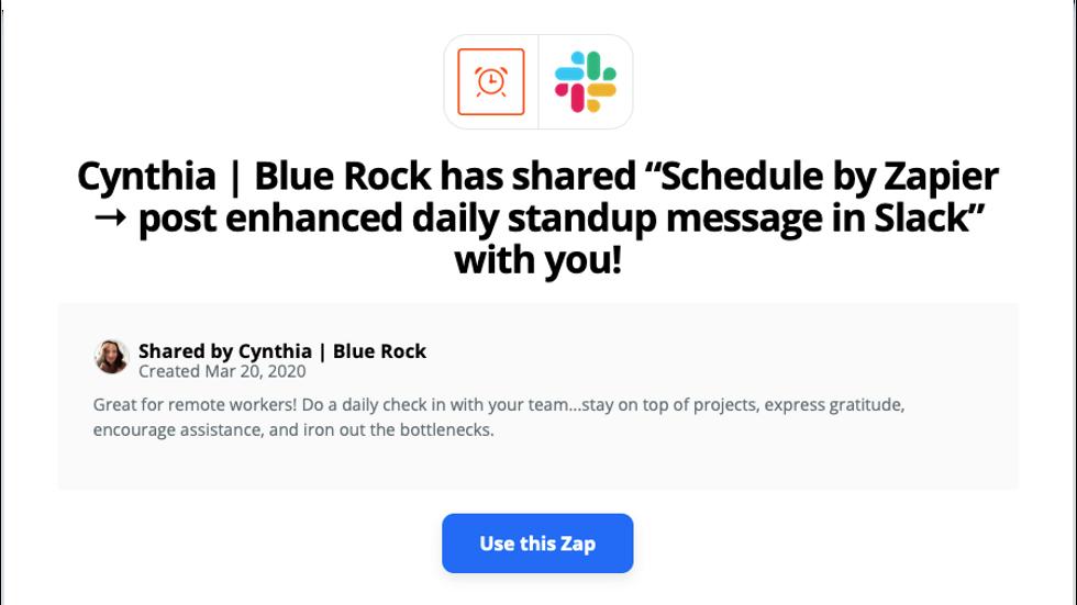 Free Zap - Slack daily standups
