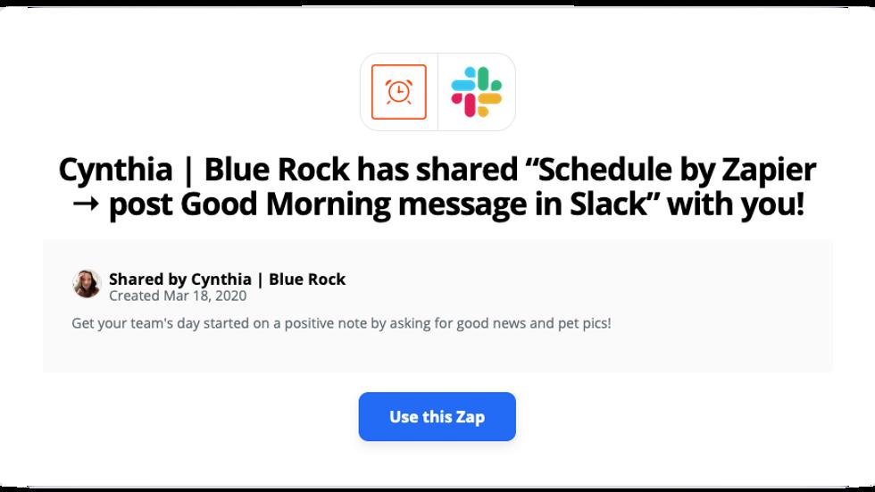 Free Zap - Slack daily good news