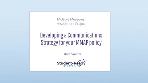 Developing a Communications Strategy for your MMAP policy