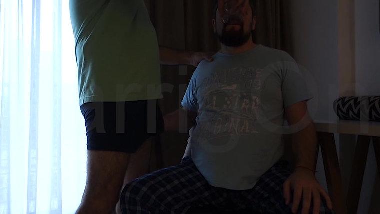 "NEW VIDEO: ""Big bulged feeding"" A big bulged man stuffs barrigOn with food!"