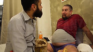 """Heavily pregnant"" barrigOn is in bed with his huge pregnant belly and the father of the baby helps him to eat a lot! IN ENGLISH!"