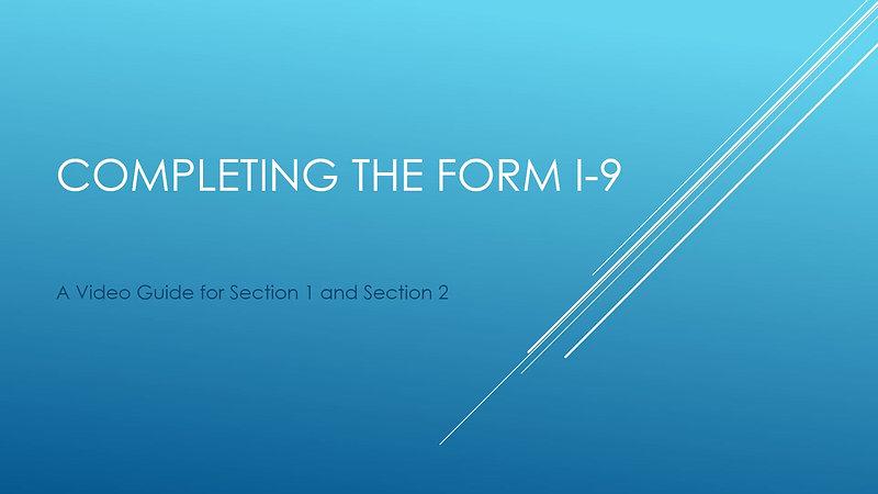 Completing Form I-9