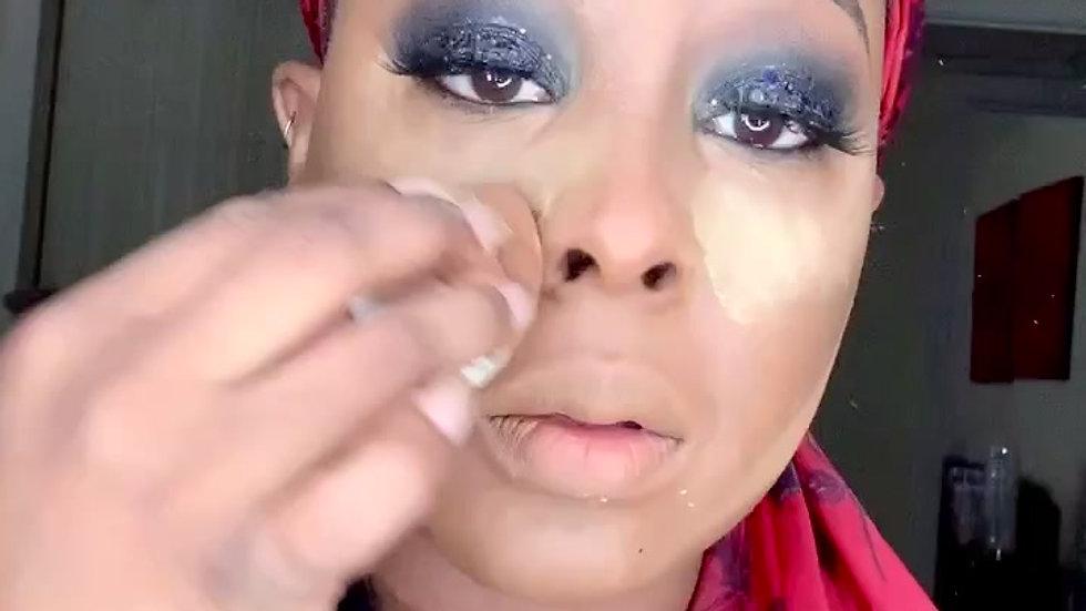 Black glitter smoky eye full glam