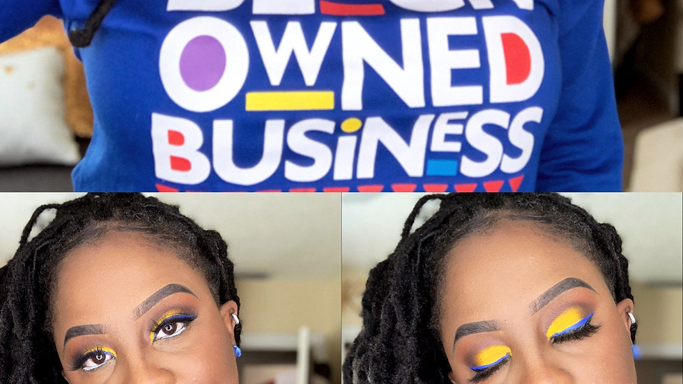 Full glam yellow cut crease with blue liner