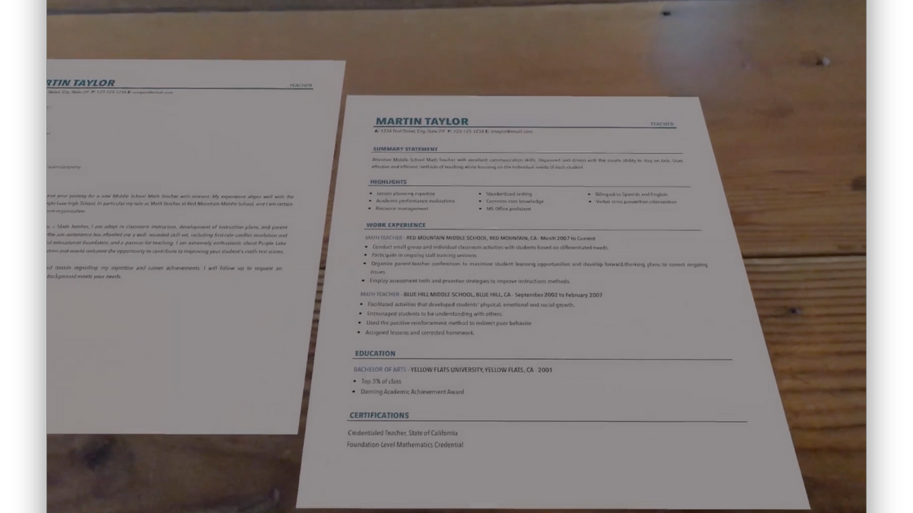 Preview your resume in AR
