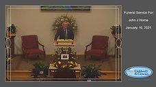 Funeral Service for John J Horne
