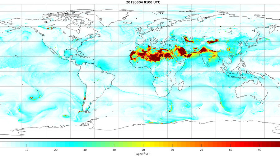 NASA GEOS-CF global forcast for total PM2.5