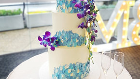 Blue Orchid Wedding Cake