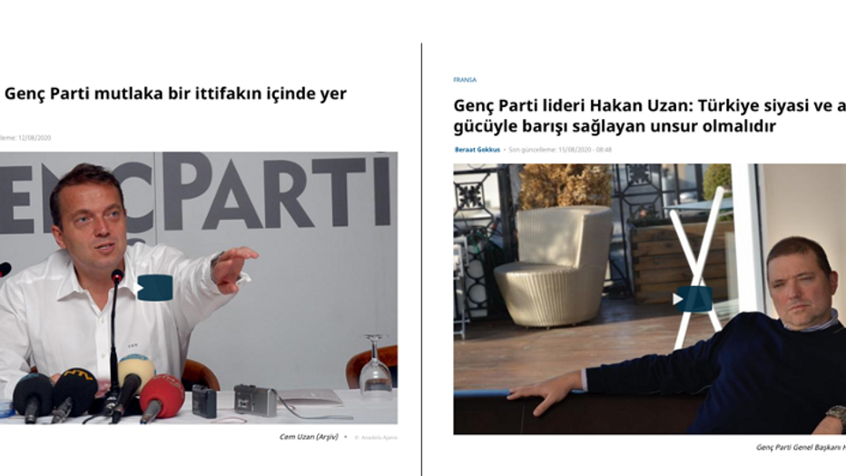 Genç Parti Kurucu Başkanı Cem Uzan;  Genç Parti Genel Başkanı Hakan Uzan; Röportajlar