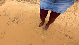 WetLook 246 wet denim skirt and wet high leather boots