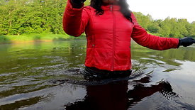 WetLook | Girl in rubber boots and leather pants in deep water