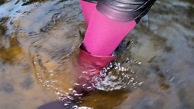 WetLook 197, buy 12.99 euro girl in shorts and wet high leather boots in deep water