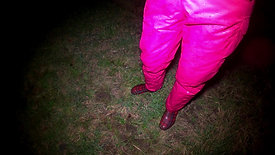 WetLook 213 Girl in pink overalls and rubber boots in the water