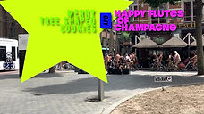 a Bare Naked Merry Tree Shaped Cookies and Flutes of Champagne Wish -4K