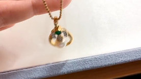 AAAA 7 mm Akoya Pearl Pendant 18k Gold Emerald, and Diamond