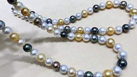 45cm AAAA 8-10.5 mm Multicolor Pearl Necklace Sterling Silver Clasp
