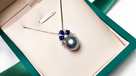 10-11 mm Tahitian Pearl Pendant 18K Gold w/ Diamond - AAAA