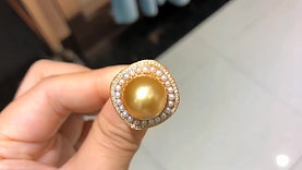 13-14 mm Golden South Sea Pearl Ring Pendant, 18k Gold w/ Diamond - AAAA