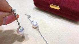 Wear Two Ways, 0.45 ct Dimaond AAAA 9-9.5mm Akoya Pearl Earrings 18k Gold