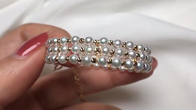 AAAA 3-4mm Baby Akoya Pearl Adjustable Bracelet 18k Gold