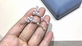 PMS | AAAA 3-6 mm Akoya Pearl Earrings 18k Gold w/ Dia