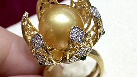 AMAZING! 12-13 mm Golden Pearl Royal Flowering Ring 18k Gold w/ Diamond - AAAA